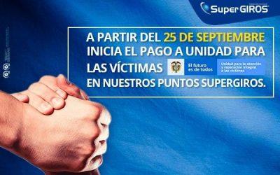 Inician los pagos de la Unidad para las Víctimas en los puntos SuperGIROS